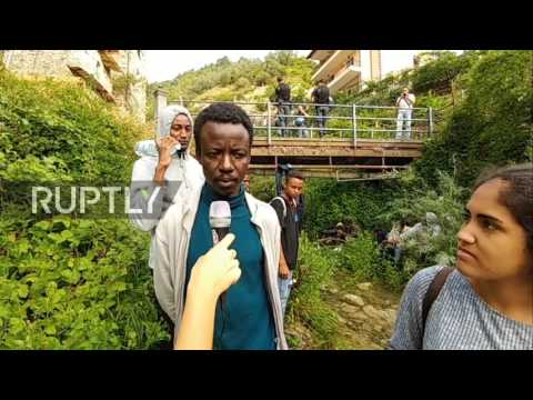 Italy: Migrants wade through river in resistant journey towards blocked French border