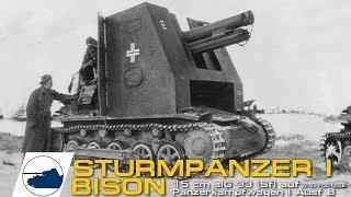 Rare WW2 Sturmpanzer I Bison 15 cm sIG 33 (Sf) auf Panzerkampfwagen I Ausf B footage.