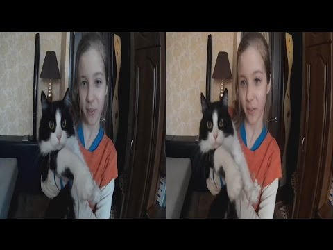 Girl Dasha and the cat Sonia in 3D ! The Hunger Games !3D VIDEO
