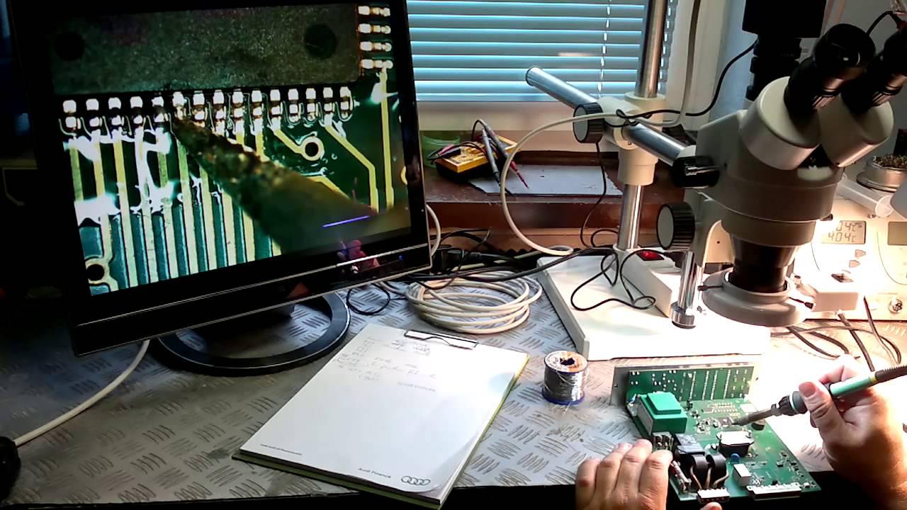 Mikroskop stereoskopowy w warsztacie elektronicznym youtube