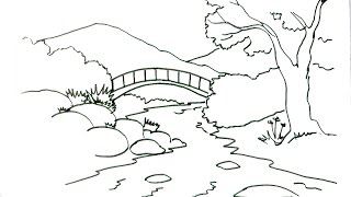 How to draw a Scene- River- in easy steps for children. beginners