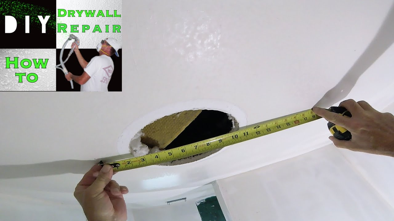 How To Patch Drywall Hole On A Ceiling Diy Repair Tutorial Part 1 Installing