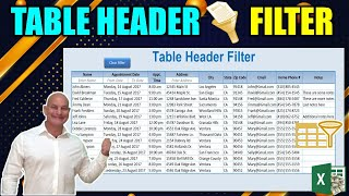 How To Filter Excel Table Data Just By Entering Text In The Header