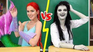 Mermaid vs Zombie at College / 10 DIY Mermaid College Supplies vs Zombie College Supplies