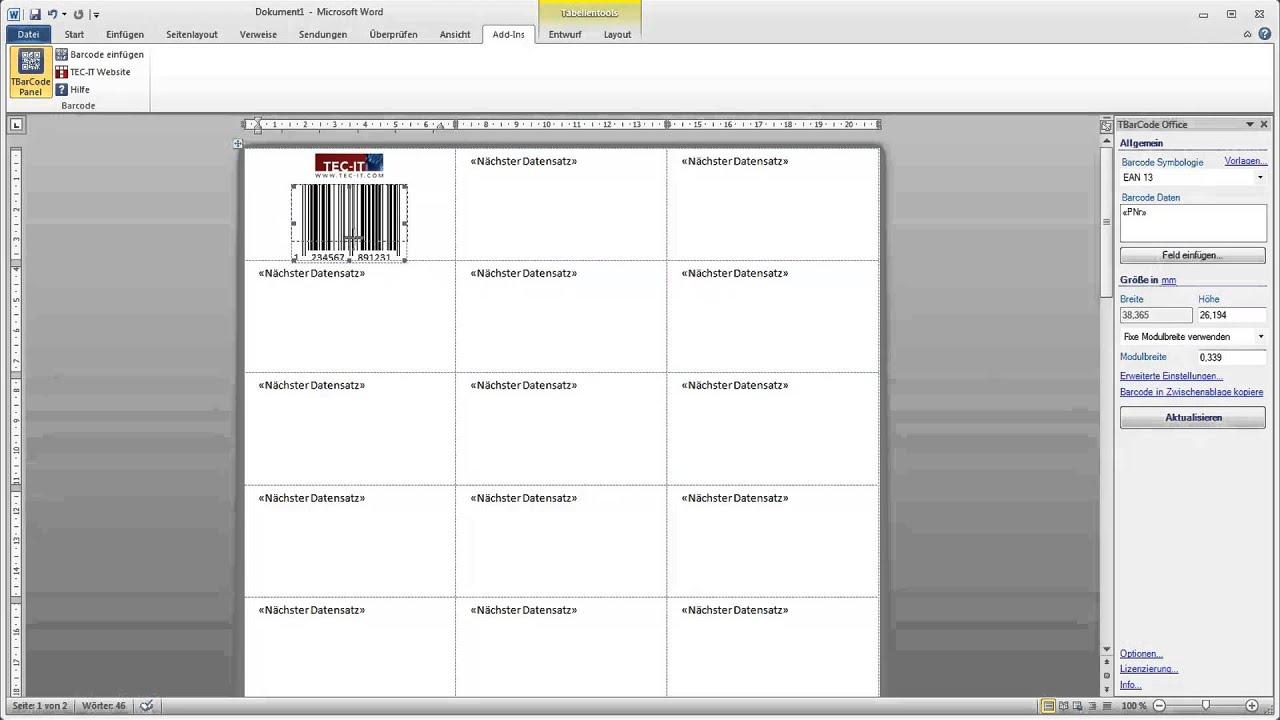 Barcode Etiketten In Microsoft Word Erstellen Youtube