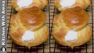 Homemade Cream Puff Recipe - Easy Profiterole Recipe - Kitchen With Amna