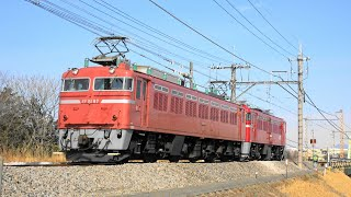 〔4K UHD|cc〕JR東日本・高崎線:倉賀野駅~北藤岡・新町駅間、EF81形+ED75形/「AT出場配給」走行シーン。《配9724レ》