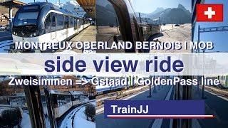 Zweisimmen to Gstaad Switzerland | GoldenPass route | Train Ride Side View | Montreux Oberland Bahn