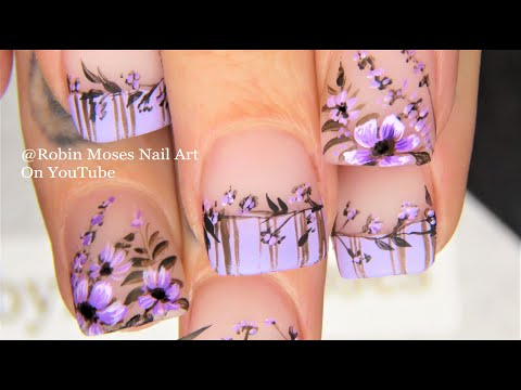 Dried Lavender Flower Nails | Hand Painted Flowers Nail Art