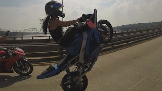 Motorcycle Stunts Beautiful GIRL Riding Wheelies Long Highway Wheelie Ride Of The Century ROC 2015