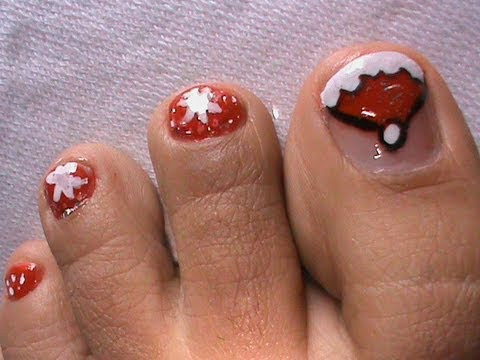 Cute Santa Toes Christmas Nail Art Tutorial