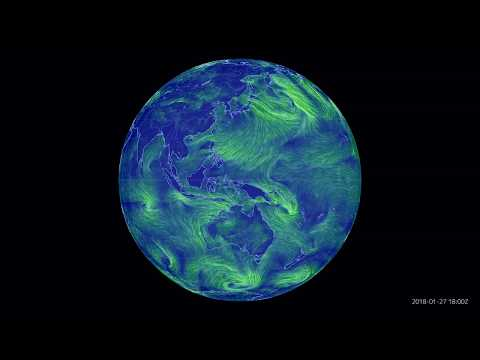 [4K] 2018: full, one year time lapse of surface winds over Asia Pacific.