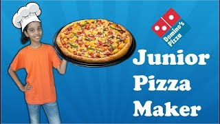Kids vs Food! Domino's pizza, Junior pizza maker,Chef Saanvi making pizza, pizza for kids