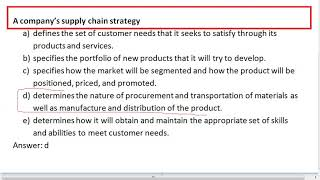 A company's supply chain strategy