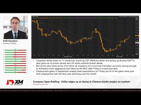 Forex News: 08/10/2018 - Dollar edges up as slump in Chinese stocks weighs on markets