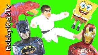 HobbyKarate Surprise Toy Piñata Attack EGGS! Batman + Spongebob, IronMan T-Rex TMNT by HobbyKidsTV