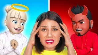 UN ÁNGEL VS. UN DEMONIO ME CONTROLAN || ¡Emojis en la vida real! Bien vs. mal por 123 GO! SCHOOL