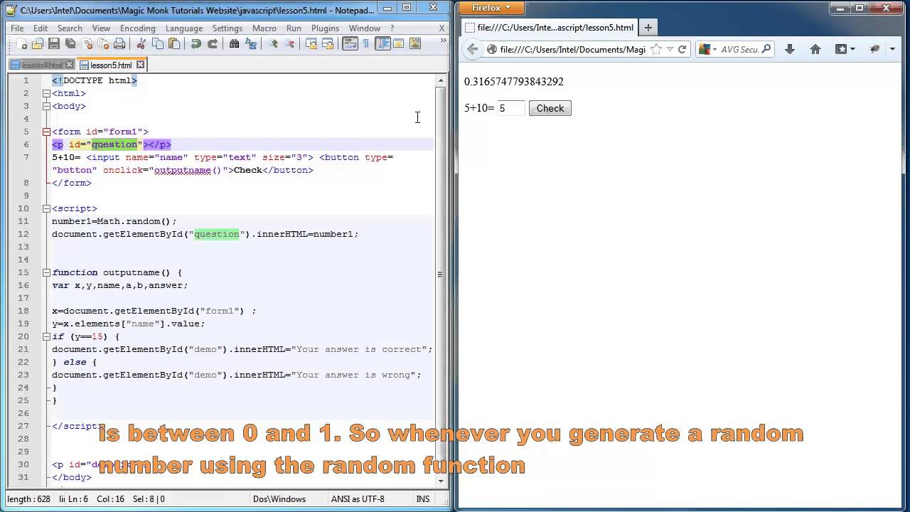 Javascript lesson 5 - generating random numbers