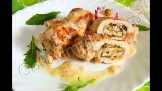 Горячие закуски мясные:Рулетики из курицы с сыром и зеленью
