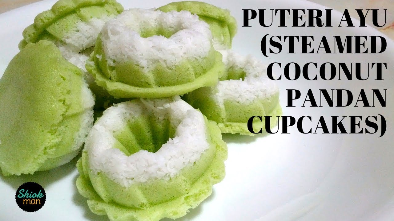Learn How To Make Puteri Ayu Steamed Coconut Pandan Cupcake