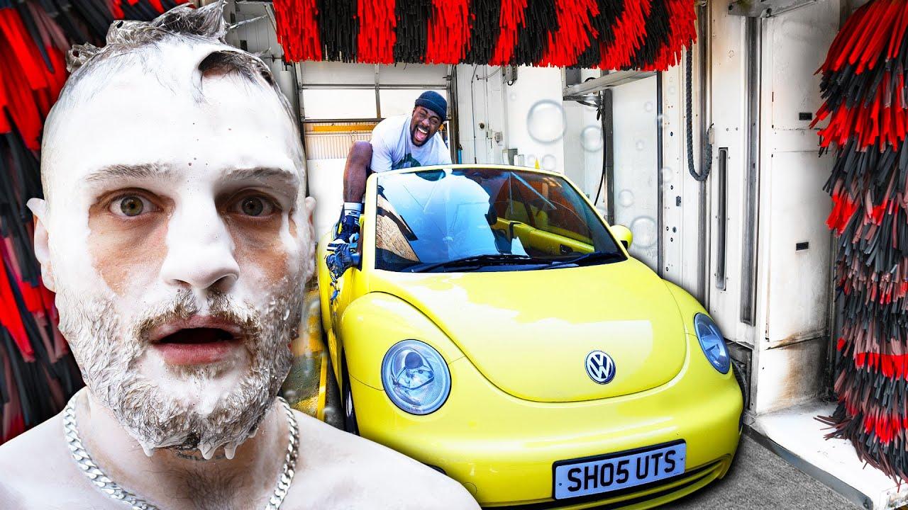 Download TGF Driving A Convertible Car Through A Car Wash