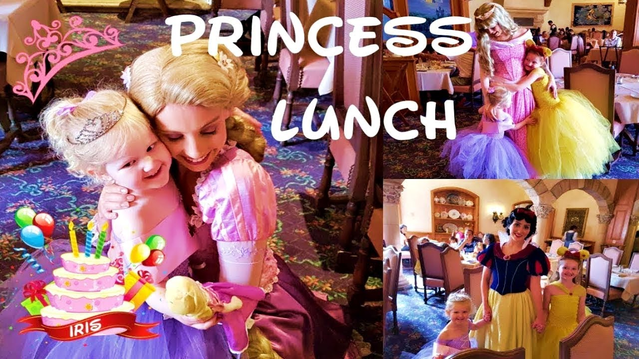 Adorable Girls Lunch With The Princesses Disneyland