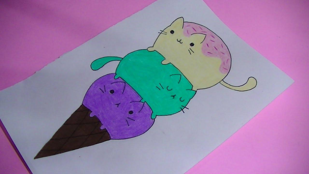 Como dibujar/pintar helado de pusheen (gato) - Semana comida kawaii ...