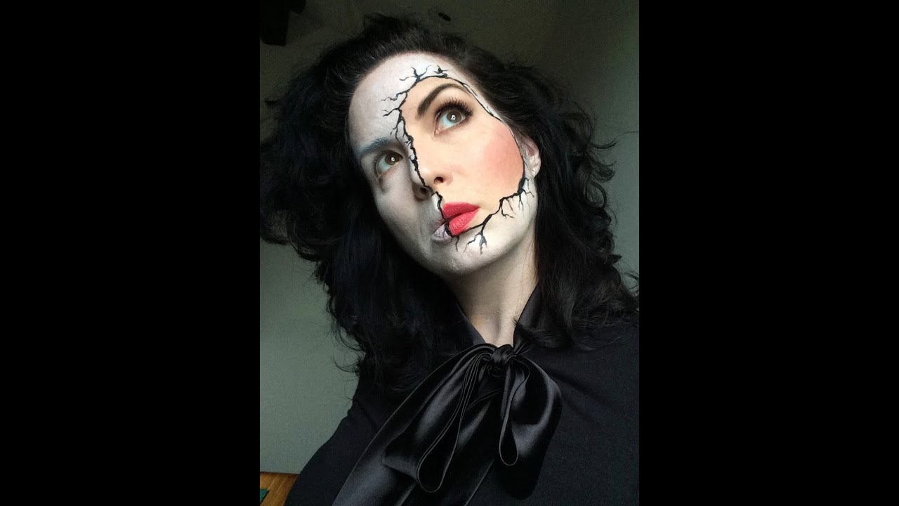 Halloween Makeup Tutorial - Cracked China Doll - YouTube