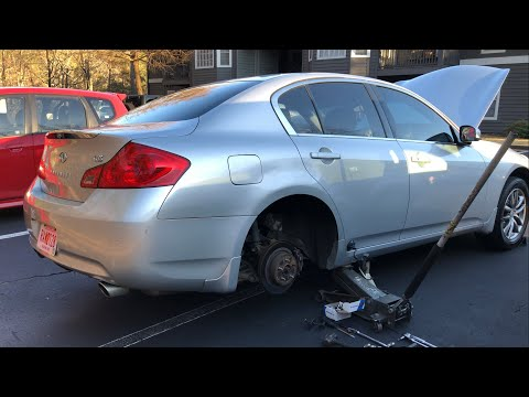How to replace Infiniti G37 rear brake pads