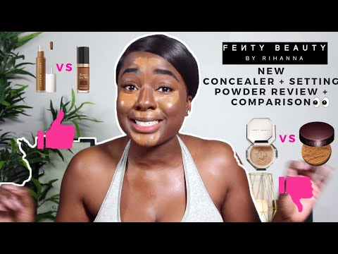 TRYING FENTY BEAUTY NEW CONCEALER & SETTING POWDER| Review & Flash Test VS Laura Mercier & TOO FACED