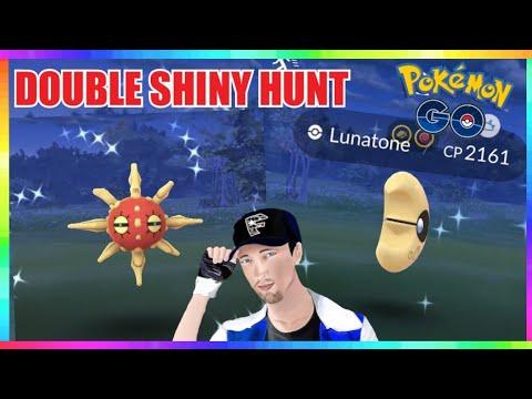 LIVE🔴 SHINY SOLROCK & SHINY LUNATONE HUNT in Pokemon Go! 💚💯
