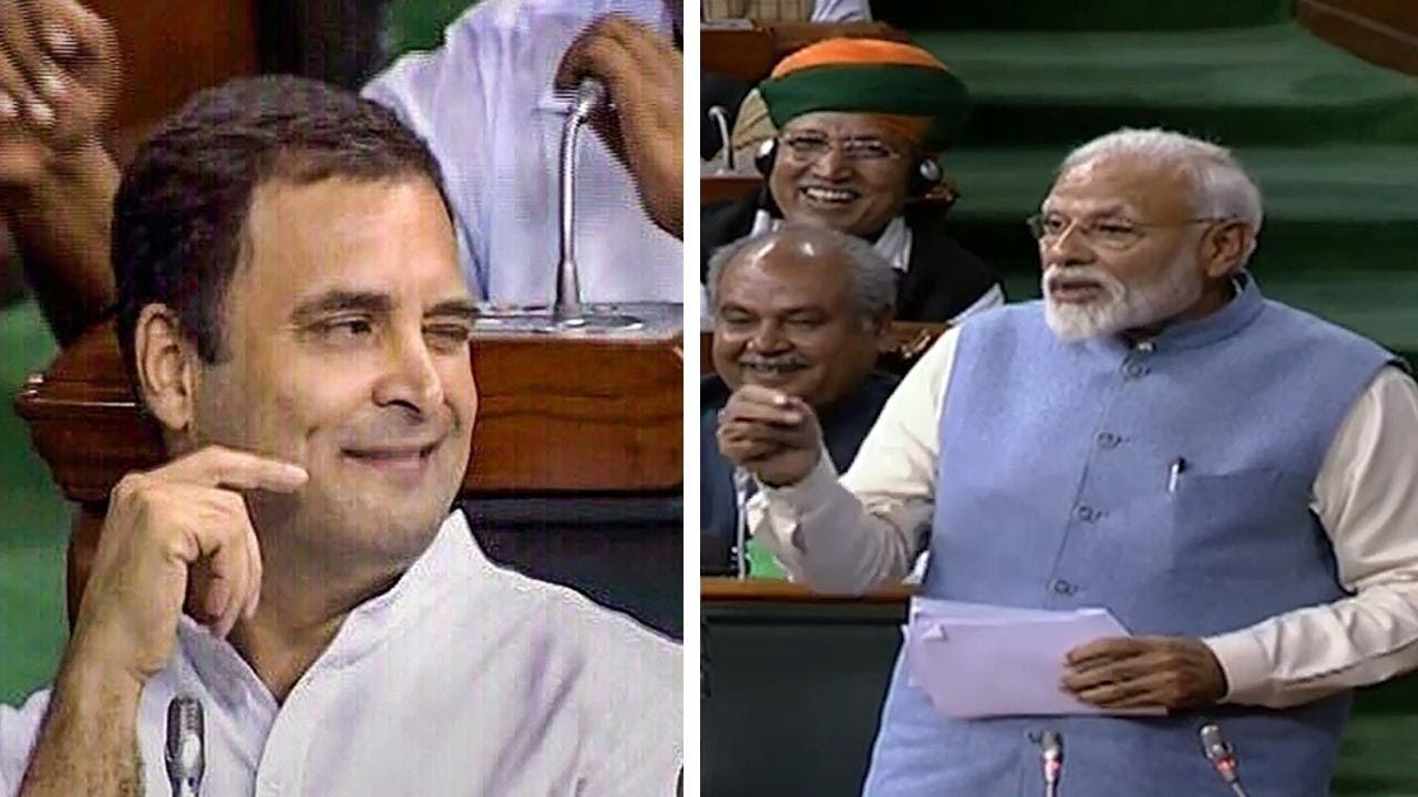 Download Narendra Modi again takes dig at Rahul Gandhi's infamous hug and wink act in Lok Sabha