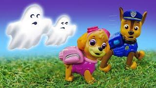Щенячий патруль и ПРИВИДЕНИЕ Машины сказки про Хэллоуин Видео СКАЗКА с игрушками