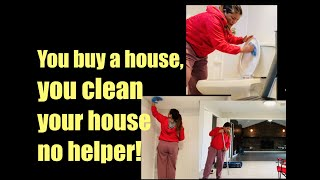 Filipina Cleans the Big House by Herself in America, Can't Afford a Housemaid! #buyahouseinamerica