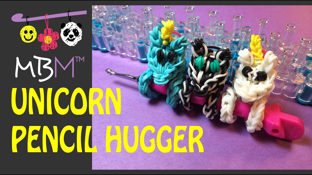 rainbow loom pencil hugger unicorn zebra or pony   youtube