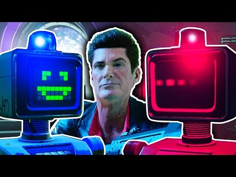 FIGHTING ZOMBIES WITH DAVID HASSELHOFF! IW Zombies in Spaceland Robot Upgrade Easter Egg Gameplay!