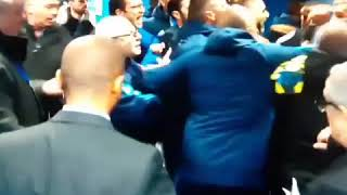 Adil Rami trying to fight the whole Lyon Team