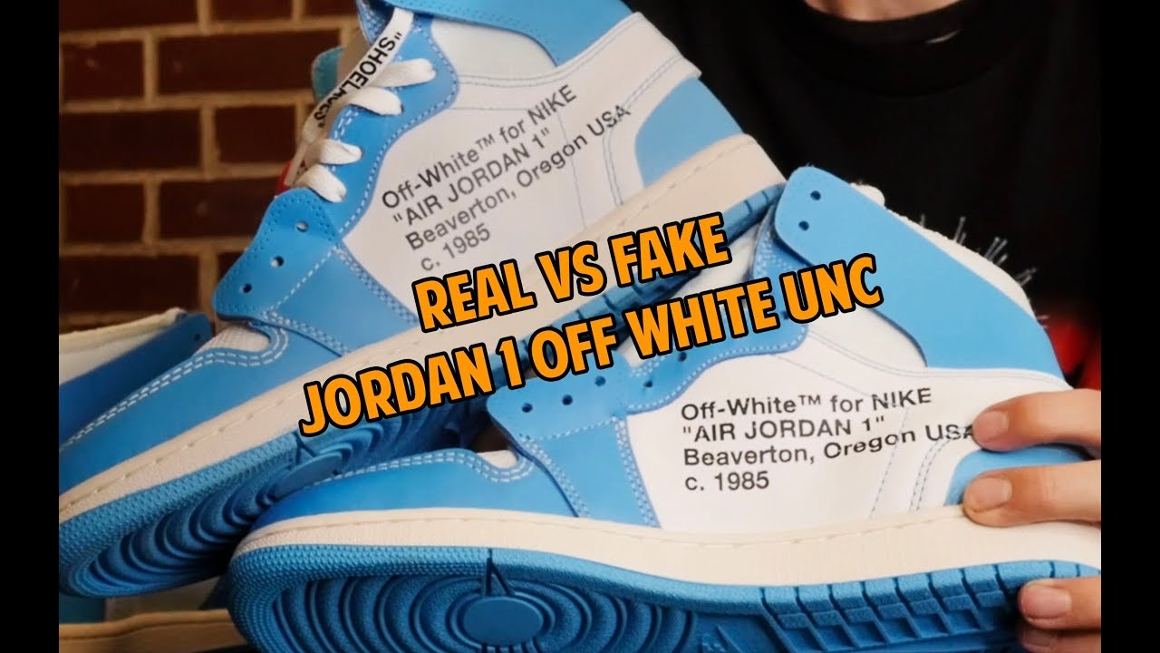 edee148baf5fe7 OFF WHITE JORDAN 1 UNC REAL vs FAKE! THE ONLY VIDEO YOU NEED TO LEGIT CHECK.