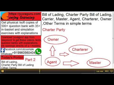 2 CDCS videos Bill of Lading Charter Party Owner Charterer Master Agentby Vishal Mantri 919960560404