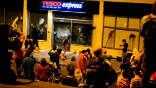Stokes Croft riot - Trashing a police car and Tescos