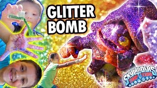 Glitter Bomb Shortcut! Sparkly Kids Make A Mess W/ Toy Art Project! (skylanders Trap Team Fun)
