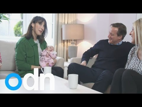 """Tories PR: Samantha Cameron holds baby - PM husband asks """"want another one?"""""""