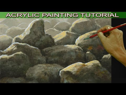 Acrylic Painting Tutorial on How to Paint Basic Rocks on Sunlight Easy for Beginners by JM Lisondra