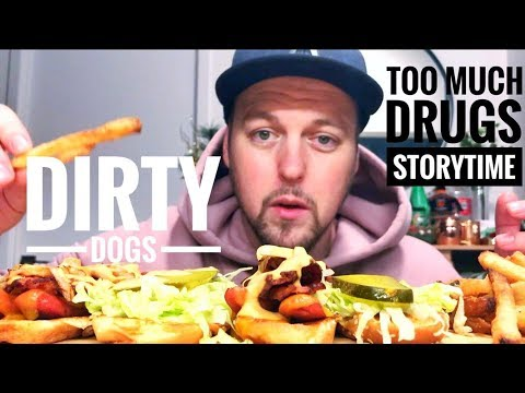 BACON CHEESE HOT DOGS MUKBANG - TOO MUCH DRUGS AT MUSIC FESTIVAL STORYTIME