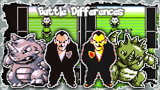 Every Pokemon City Gym Leader Battle - Versus Giovanni (Red/Blue & Yellow Battle Differences)