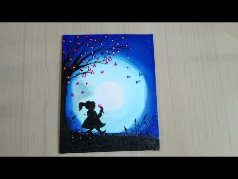 EASY MOONLIGHT PAINTING ON CANVAS