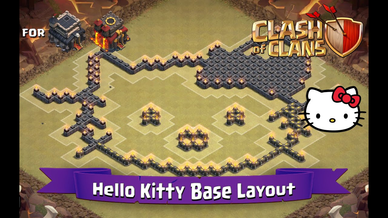 Clash Of Clans: TH9 | TH10 | Fun Base Layout - Hello Kitty