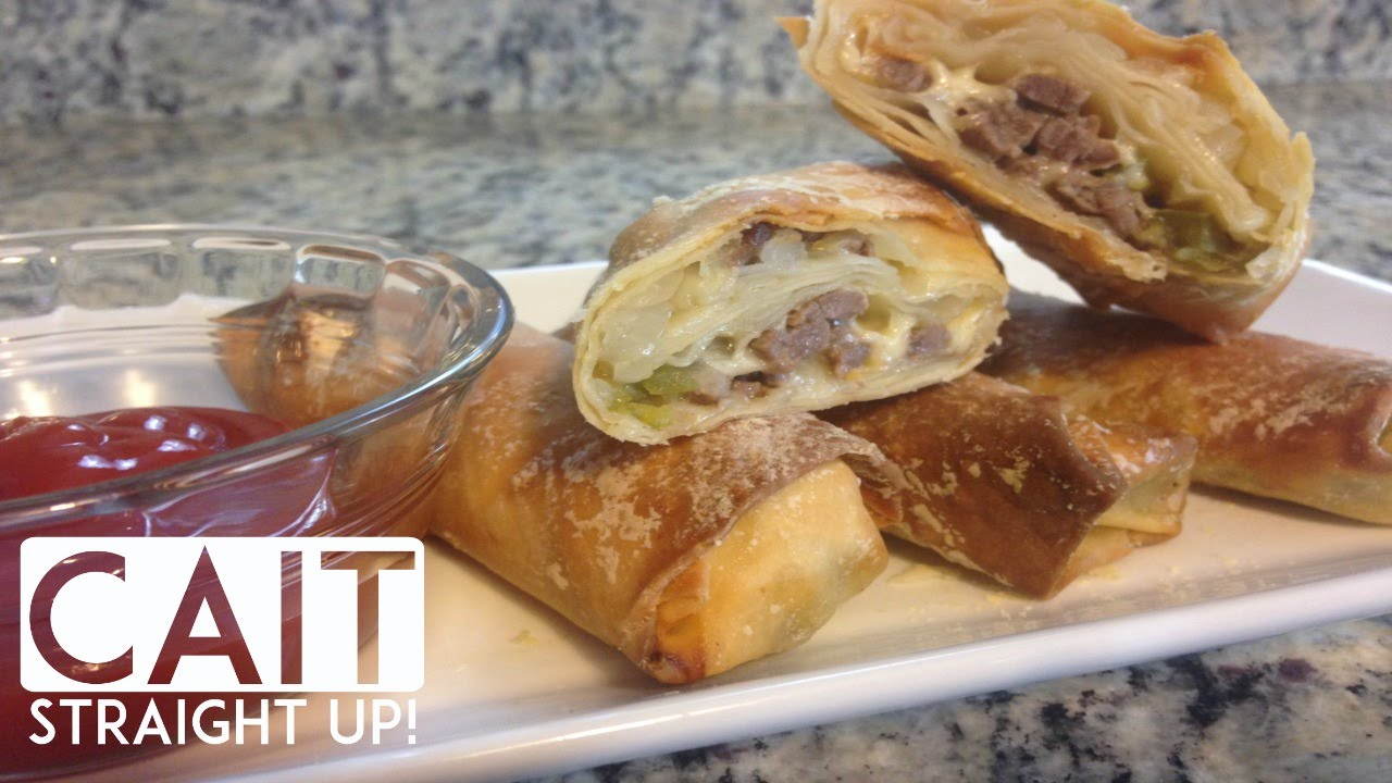 Philly Cheese Steak Eggrolls Baked Not Fried Game Day Favorite Cait Straight Up Youtube