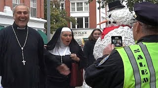 Scary Snowman Goes To Salem Massachusetts - You Laugh You Win