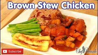 Brown stew chicken Rice and peas and  Fry plantain. veg !!!